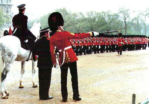 GSM A G 'Perry' Mason MVO MBE directing a rehearsal for Trooping the Colour