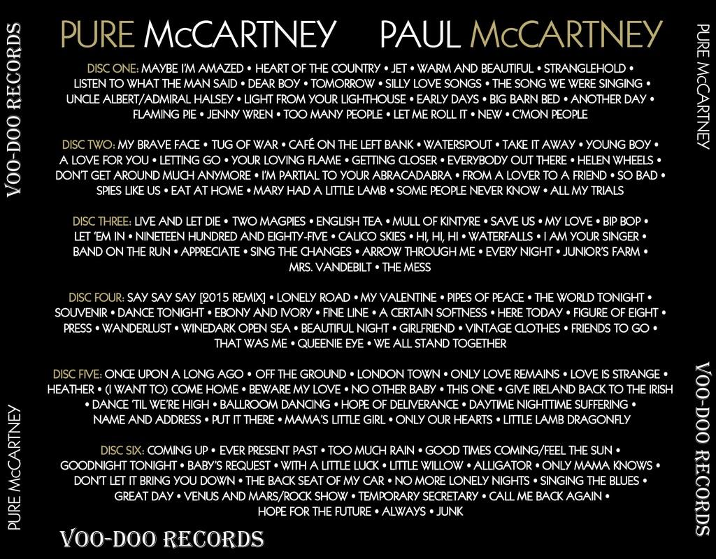"""La scaletta dell'edizione deluxe di """"Pure McCartney"""""""
