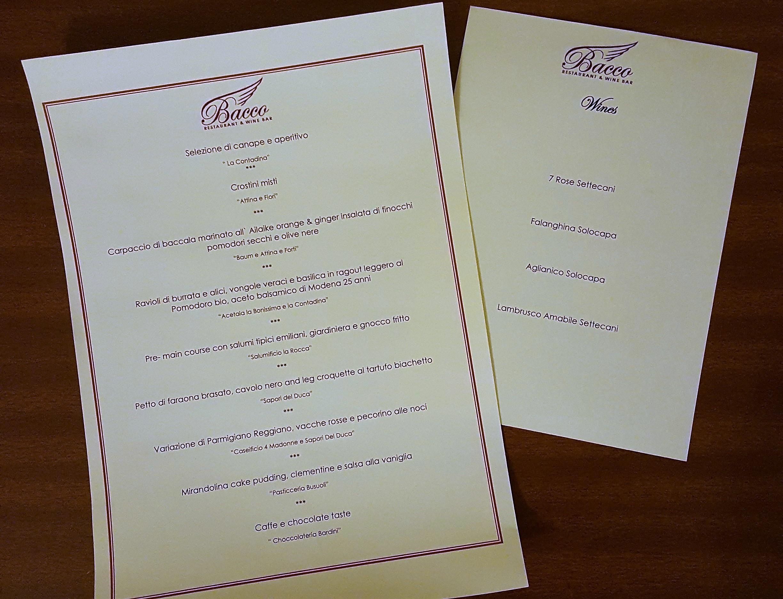Il menù e la lista dei vini selezionati per rappresentare le aziende italiane a London Calling