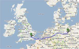 cartina tratta Londra ad amsterdam
